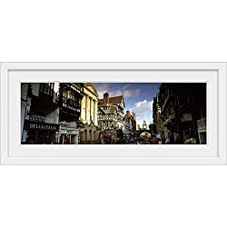 GREATBIGCANVAS Buildings in a Town Eastgate Clock Chester Cheshire England White Framed Wall Art Print, 36 x12.