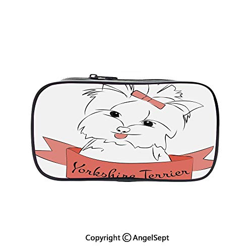 Cute Pencil Case - High Capacity,Cute Puppy with Hair Buckle Yorkie Terrier Animal Ribbon Cartoon Character Print Decorative Pink White 5.1inches,Multifunction Cosmetic Makeup Bag,Perfect Holder for]()