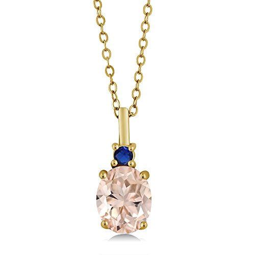 1.68 Ct Peach Morganite Simulated Sapphire 18K Yellow Gold Plated Silver Pendant by Gem Stone King