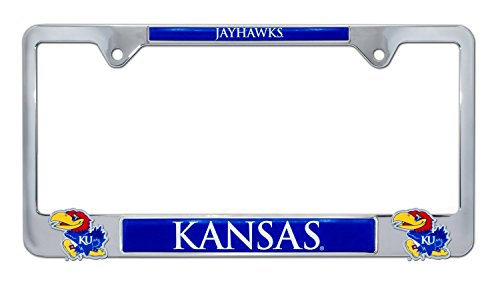 Kansas License Plate - AMG Premium NCAA KU Kansas Mascot License Plate Frame w/Dual 3D Logos (Kansas)