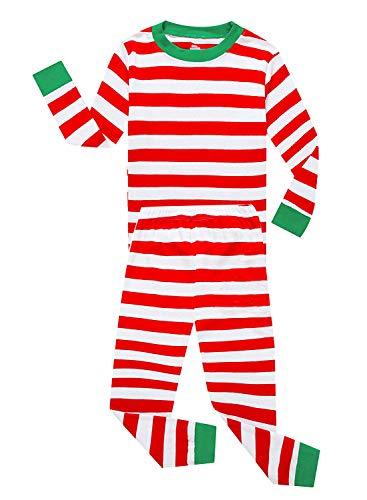 Family Feeling Little Girls Boys Xmas Christmas Pajamas Sets 100% Cotton Sleepwears Toddler Kids Pjs Size 5 Striped