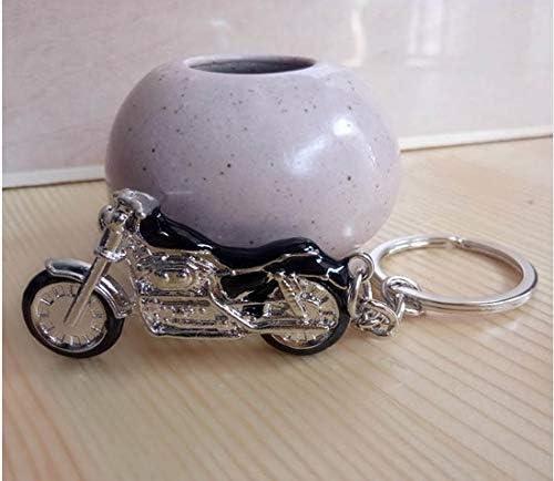 Motorbike Chopper Keyring Silver//Black Metal