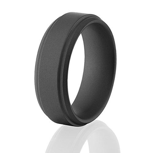 Black Military Matte Ceramic Rings, Black Mens Wedding Bands