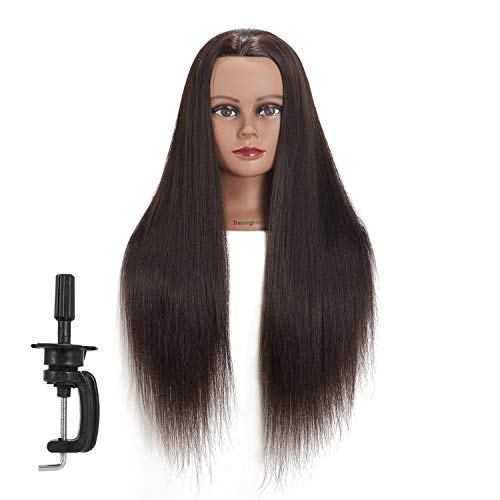 Traininghead 26-28 Synthetic Hair Mannequin Head Training Head Hair Styling Hairdresser Cosmetology Manikin Head Doll Head with Free Clamp for Female (1812BY0220)