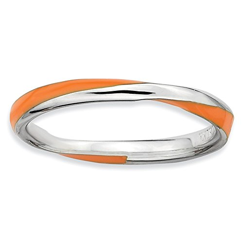 2.5mm Silver Twisted Orange Enameled Stackable Band Size 6