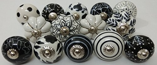 14 Black and White Mix Ceramic Knobs Handpainted Kitchen, used for sale  Delivered anywhere in USA