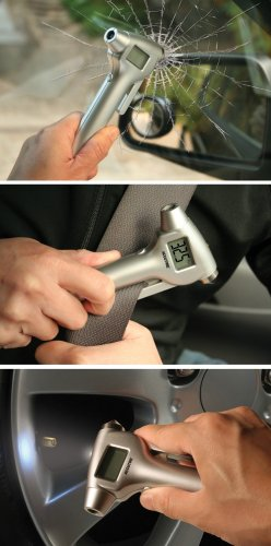 Seatbelt Blade and White LED Flashlight Measurement Limited Accutire MS-4520B Digital Tire Pressure Gauge with Emergency Hammer