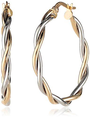 14k Gold Italian Two-Tone Twisted Hoop Earrings