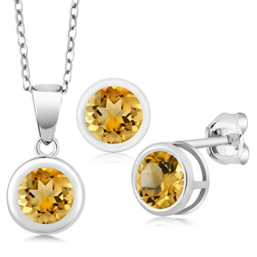 2.70 Ct Round Yellow Citrine 925 Sterling Silver Pendant Earrings Set -