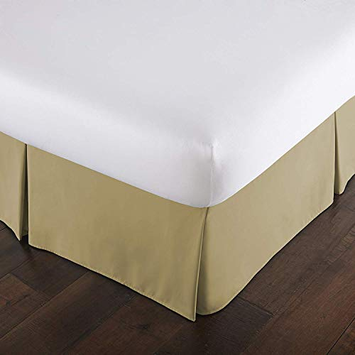 "VGI Linen Hotel Series Luxurious Looking 1-PC Split Corner Tailored Bed Skirt (Solid) 550 Thread Count Ultra Soft Genuine Egyptian Cotton with 20"" Inch Drop Length (Queen Size, Gold)"
