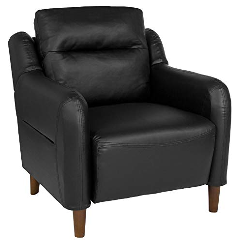 Flash Furniture Newton Hill Upholstered Bustle Back Arm Chair in Black Leather ()