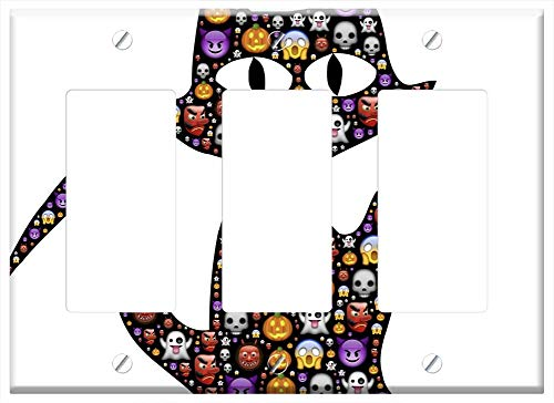 Switch Plate Triple Rocker/GFCI - Cat Halloween Emoji Scary Frightful Spooky Icons 2