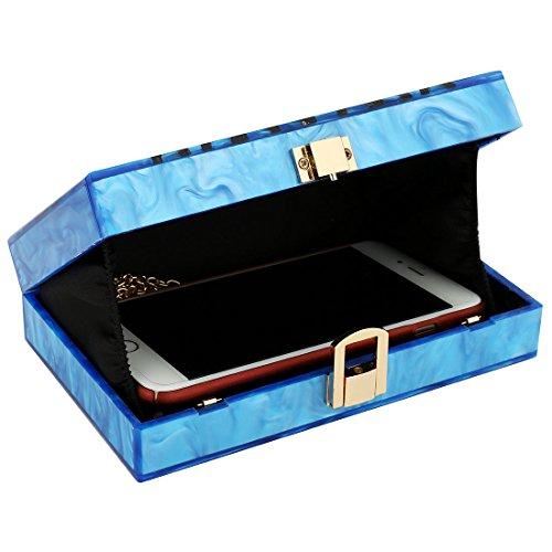 Evening Handbag Box Acrylic Clutch Stripes Shoulder Bag for Party (Black) by KNUS (Image #4)