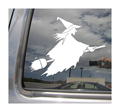 Right Now Decals Witch on Flying Broom - Halloween Witchcraft Funny Humor - Cars Trucks Moped Helmet Hard Hat Auto Automotive Craft Laptop Vinyl Decal Store Window Wall Sticker 10010