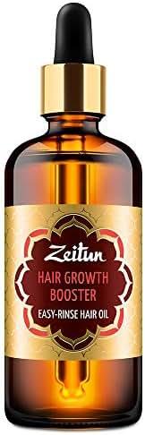 Zeitun Hair Growth Oil - Oil Hair Treatment - Premium Hair Growth Booster Oil - Organic & Vegan Hair Oil - Amla & Bay and Burdock - Healthy, Silicone-Free, Paraben-Free, Cruelty-Free, Easy-Rinse Hair