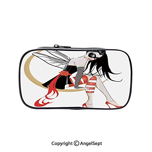 Two Big Pockets for Executive Fountain Pen,Stylish Girl with Mask and Wings on The Moon Luna Fantasy Artsy High Heals Fashion Black Red 5.1inches,Multi-Functional 72 Slots Colored Pencil Case ()