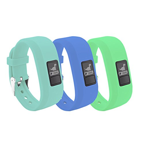BeneStellar 12 Colors Garmin Vivofit JR/Vivofit JR. 2 Bands With Secure Watch Clasp Silicone Replacement Bands for Garmin Vivofit JR for Kids (B# 3-Pack Glow Band (Green+Blue+Light Blue))
