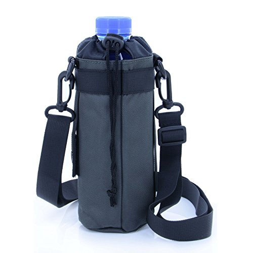 Handle Drawstring - U-TIMES Water Bottle Holder 750 ml Nylon Water Bottle Carrier/Bag/Pouch/Case/Cover/Sleeve With Shoulder Strap & Belt Handle & Molle Accessories - Drawstring Closure(Army Green)