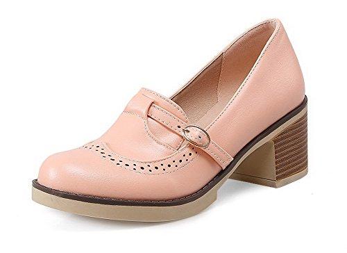 AgooLar Damen Weiches Material Rund Zehe Schnalle Rein Pumps Schuhe Pink