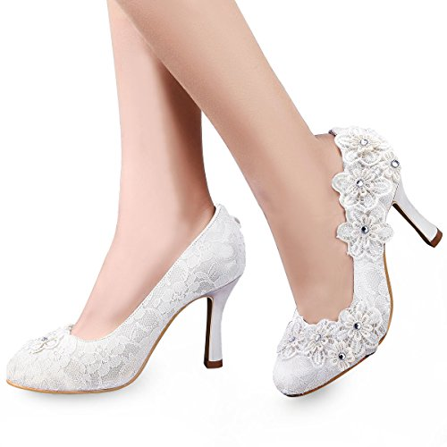 Bridal Wedding Pumps - ElegantPark EP11099 Women Vintage Closed Toe Pumps High Heel Flowers Lace Wedding Bridal Dress Shoes Ivory US 8