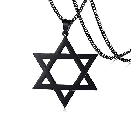 Jewish Religious Symbol Jewelry Stainless Steel Star of David Hexagram Pendant Necklace for Men boy