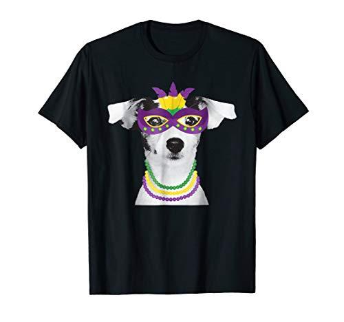 Jack Russell Terrier Mardi Gras Tshirt Dog Beads Costume Tee -