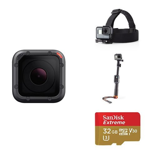 GoPro HERO5 Session w/ Head Strap, Selfie Stick and Memory Card by GoPro