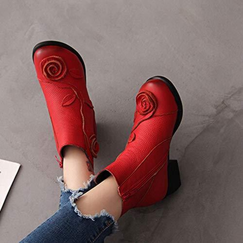 Bottes Martin À En Ethnique Fleurs Femmes Rouge Noir Style Rétro La Cousues Chaussures ❤️chaussures Cuir Bottines❤️lolittas Main tqURc