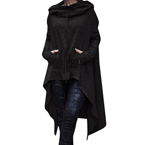 kaifongfu Blouse Women, Loose Hoodie Long Hooded Tops Ladies Sweatshirt Sweater Asymmetric (M, Black)