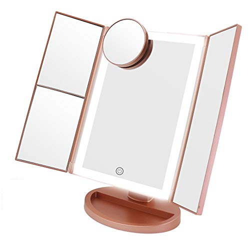 Makeup Vanity Mirror with Lights, 3 Color Lighting 72 LED COSMIRROR Trifold Lighted Makeup Mirror, 1X/2X/3X/10X Magnification and Touch Screen, High Definition Light Up Mirror (Rose gold)