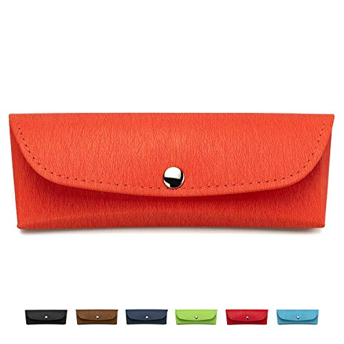 Portable Eyeglasses Case, Semi-Hard Vegan Leather Glasses Carrying Case Eyewear Pouch with Snap Button Closure - Eyeglass Reader Case
