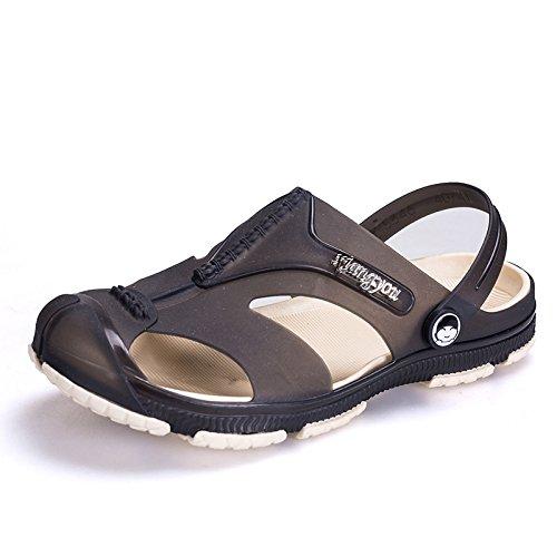 Sommer Männer Sandalen, Sandstrand Löcher, Schuhe, Sogar Schuhe, Farbe: Blau, Schwarz, Grau,Schwarz,Eu41