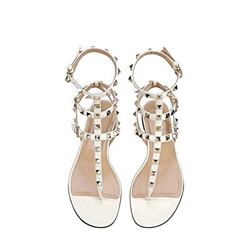 Heels Caitlin Sandali Mid con Bianco Slipper Sandals Donna Pan Chunky Dress 45EU Borchie Heel Slide Borchie Toe per 35 Block con Open Infradito P44Ew