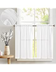 jinchan Tier Curtains Linen Textured Small Cafe Curtain Long Curtains for Kitchen Window Treatment Set 2 Panels