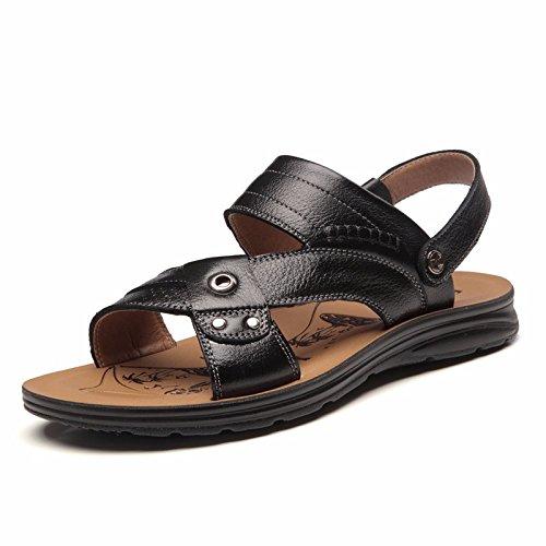 Sommer Echtleder Sandalen Männer Strand Schuh Männer Sandalen Männer Schuh Atmungsaktiv Freizeit Schuh Männer Trend ,schwarzA,US=8,UK=7.5,EU=41 1/3,CN=42