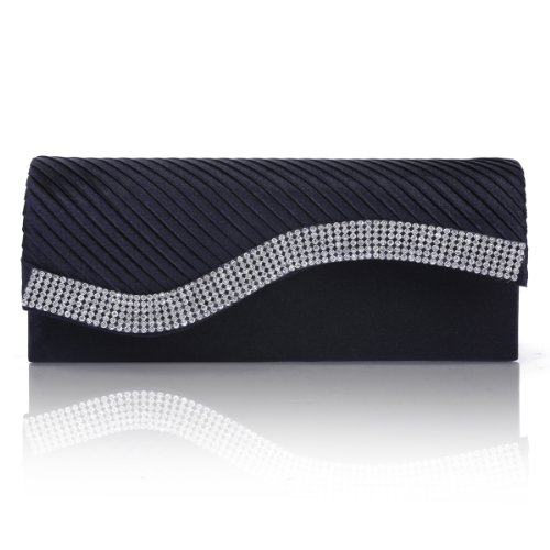 Damara Womens Pleated Satin Flap Crystal Clutch Evening Bag