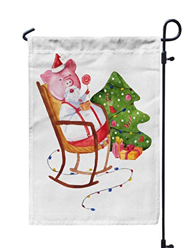 HerysTa Spring Garden Flag, Decorative Yard Farmhouse Holiday Banner 12 x 18 inches Chinese New Year The Pig Christmas Greeting Card Double-Sided Seasonal Garden Flags