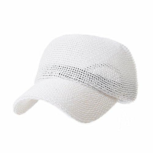 WITHMOONS Baseball Cap Summer Cool Paperstraw Cotton Mesh Ballcap for Men Women KR1960 (White)