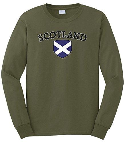Cybertela Men's Scotland Flag Crest Shield Long Sleeve T-Shirt (Olive Green, 2X-Large)