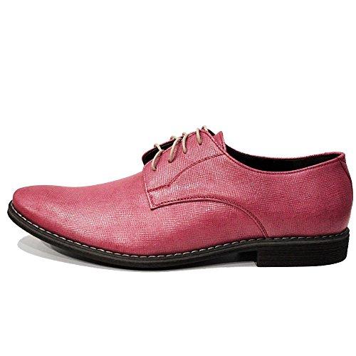 pour Oxfords Cuir Modello Cuir Hommes gaufré Rose Lacer Chaussures Piko de Italiennes Cuir Handmade Vachette des vqaqHzI