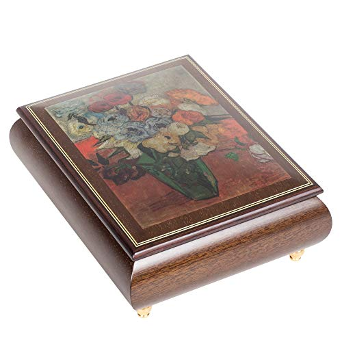 Van Gogh Japanese Vase Dark Elm Wood Italian Inlaid Wood Jewelry Music Box Plays Cantata 147