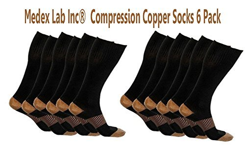 Medex Lab Bundle Pack of Compression Copper Socks: Calves High Copper Compression Socks Aid in Blood Circulation Relieves Pain and Aches off your Feet (6 Pairs Black Copper Socks) by Thera Copper Socks