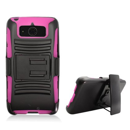 For Motorola DROID MINI XT1030 (Verizon) Hot Pink Armor Case, w/ Black Belt Clip & Black Stand