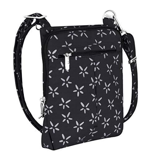 Travelon Anti-Theft Classic Light Mini Crossbody Bag (A B/W SMALL FLOWER PRINT)