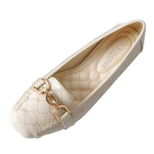 Donna Dimensione Con on Piatte Da 4 Nero In Punta A Metallo colore Beige Ballerine Piatta Arrotondata Shoe Slip Flat Uk vnOFaI