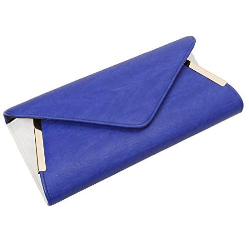 w Formal Various Fashion Accent Tone PU White Crossbody w Blue Clutch Purse Colors Spacious Shoulder Leather Bag Chain Handbag Detachable amp; Envelope Chic BMC Two Womens Evening Sapphire H7qR1