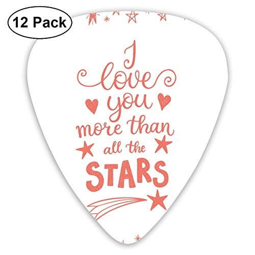 (Celluloid Guitar Picks - 12 Pack,Abstract Art Colorful Designs,Quote Of Infatuation Surrounded By Stars Scribble Art For Valentines,For Bass Electric & Acoustic Guitars.)