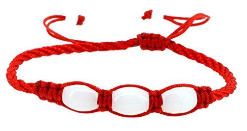 Handmade Soapstone Kabbalah Red String Bracelet, Good for Wealth and Love