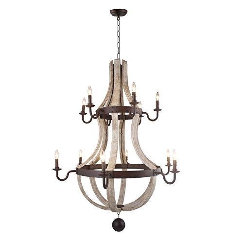 Vintage Rustic 2 Tiers Extra Large Chandelier Pendant Light French Country Wood Metal Wine Barrel Foyer (12 Light Heads) H56 X W42 (Pale Wood) (Lamp Tier 2)