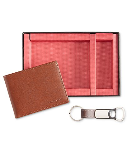 Perry Ellis Wallet & Fob Key Chain Gift Set - Tan